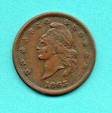 "1863 Civil War Copper Token - Liberty Head, ""God Protect the Union"", Vf-Xf"