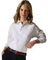 Edwards Garment Women's Fade Resistant Long Sleeve 100% Cotton Polo Shirt. 1540