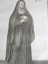 Soeur ND des SEPT DOULEURS à ROME GRAVURE Ordres Religieux F. DUFLOS XVIIIéme