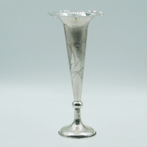 Chinese Export Silver Vase Trumpet Flared Bud Vase Exportware