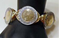 "Bronzo Italia Polished 500 Lire Coin Station Bracelet 7-1/4"" RETAIL 129.00 NWT"