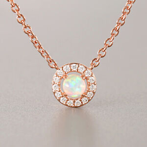 Women Rose Gold Plated Mini Opal Pendant Necklace