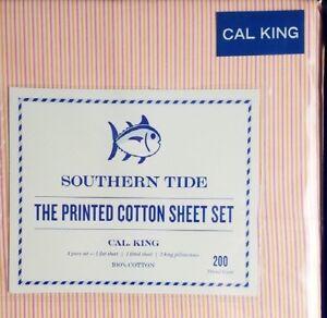 NEW SOUTHERN TIDE CABANA STRIPE CALIFORNIA KING SIZE SHEET SET PINK STRIPE