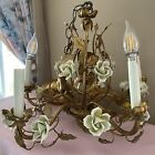 Vintage Toleware Roses & Gold Gilded Leaf Chandelier French Or Italian GORGEOUS!