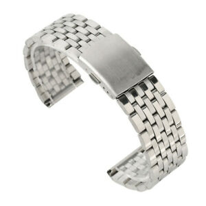 Silver Tone 18mm 20mm 22mm Wrist Watch Band Strap Stainless Steel Folding Clasp