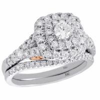 14K White Gold Round Solitaire Diamond Wedding Ring Cushion Halo Bridal Set 1 CT