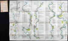 c1880s OARSMAN'S & ANGLER'S Folding Map RIVER THAMES London Fishing (FM116)
