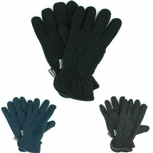 MENS THERMAL FLEECE GLOVES ANTI PILING WITH ELASTICATED CUFFS