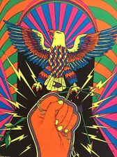 Freedom Vintage Blacklight Poster Psychedelic Pin-up Eagle Fist Chains 1970's