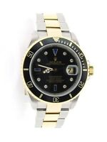 Rolex Submariner 18k Yellow Gold & Steel Watch Sapphire Diamond Serti Dial 16613