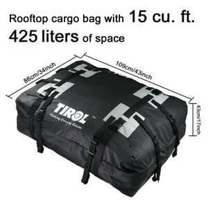 Roof Top Bag Cargo Carrier Waterproof 15 Cubic Feet Fit For All Cars With Rails