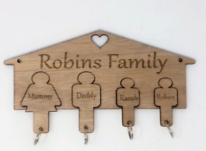 Personalised Family Key Holder / Keyring Holder, With Family Name and Key Rings