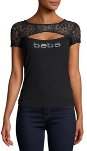 bebe Logo Shirt Rhinestone Lace PEAKABOO Top Black Stretch #2016 - R11
