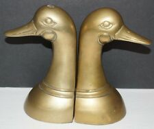 Set of 2 Solid Brass Duck Goose Geese Head Bookends Leonard Silver Mfg. Co