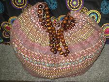 Extra Large Multi-Color Floral Design Sling Shoulder/Tote Bag w/Wooden Straps