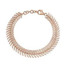 14K Rose Gold Diamond Feather Bracelet Womens Round Cut Natural 1.43 CT Flexible
