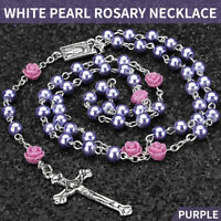 Catholic Pearl Bead Rosary Necklace Rose Prayer Lourdes Medal Cross Chain Gift