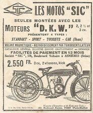 W7914 Motocicletta SIC - Motore D.K.W. - Pubblicità del 1925 - Old advertising