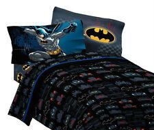 Warner Bros Batman Single Bed Sheet Set & Pillowcase 3pc Flat & Fitted Boys New