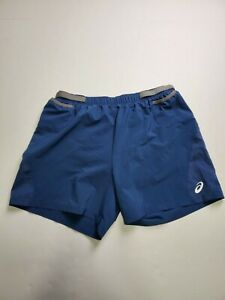Asics Mens Lightweight Brief Lined Sports Blue Running Shorts Size Large Pockets