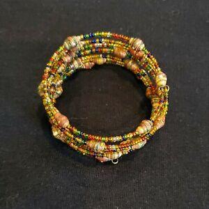 African Handmade Multicolored Beaded Coil Bracelet