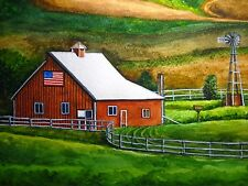 Watercolor Painting Farm Barn American Flag Field Country Nature Art 5x7