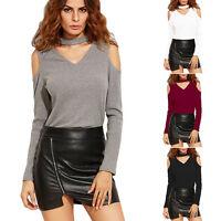 Women V Neck Cold Shoulder Shirt Blouse Ladies Casual Long Sleeve Tops UK 6 - 14