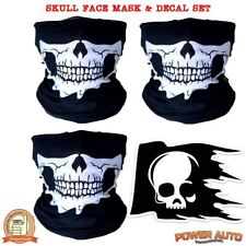 3 Skull Hood Face Mask Motorcycle Biker Ski Balaclava & Bike Helmet Skull Decal