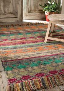 75 x 120cm Handmade Geometric Cotton Jute Tribal Floor Dhurrie Rug Indian Mat