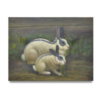 NY Art - Rabbit Family Eating Greens 12x16 Original Oil Painting on Canvas -Sale