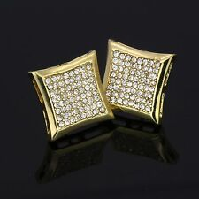 Mens 14k Gold Plated Cz Micro Pave Kite Screw Back Iced Out 8 Row Earrings