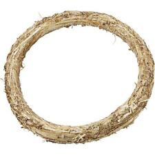 Natural Straw Wreath Round Shaped Golden Christmas Decorations Flora Crafts 35cm