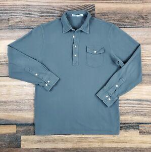 Criquet Men's Size Large Long Sleeve Polo Shirt Gray Organic Cotton 4 Button