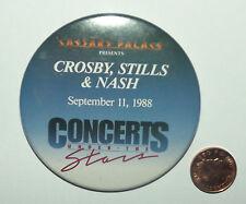 "CROSBY,STILLS & NASH 1988 Caesars Palace Vtg Huge Button Pin Badge(3""-75mm)"