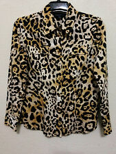 Jones New York Signature Womens Top Size Medium Animal Print Shirt Long Sleeve