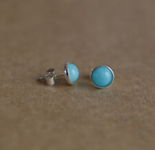 Sterling silver stud earrings with natural Azure Blue Chinese Amazonite gems