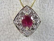 "14K Ruby Diamond Necklace Yellow Gold Red Fine Jewelry Genuine  20"" Box Chain"