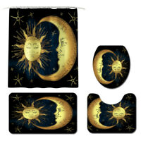 Sun Moon Bathroom Rug Set Shower Curtain Skidproof Toilet Lid Cover Bath Mat