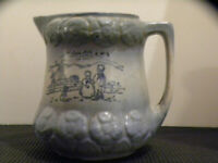 Antique c1800's Dutch Blue White Salt Glazed Stoneware Milk Water Pitcher