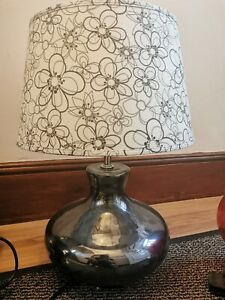 Table Lamp metallic black base with white/cream floral lamp shade