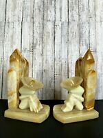 Vtg Mexican Carved Onyx Marble Southwest Cactus w/ Men in Sombrero Bookends FLAW