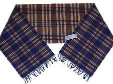 New Pendleton USA Made Brown & Navy Blue Plaid Print 100% Virgin Wool Scarf