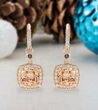 3Ct Cushion Simulant Morganite Diamond Dangle Hoop Earrings Rose Gold Fns Silver