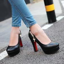 Mujeres Puntera Redonda Oficina Bloque Alto Tacón Zapatos De Plataforma salón