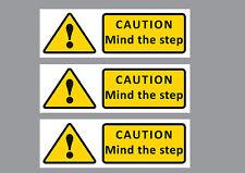 Catión mente el paso (3) Pegatina señal de advertencia, amarillo, pequeño, largo, 20x6.5cm