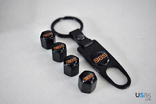 Black CAR Wheel Tyre Tire Valves Dust Stems Air Caps + Keychain With BBS emblem