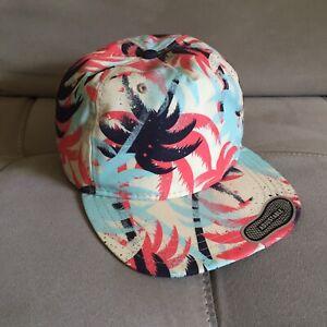 VANS Snapback Adjustable Hat Palm Trees Black Orange Blue Tan NWOT