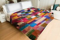 Indian Silk Sari Patchwork Kantha Quilt Queen Blanket Throw Reversible Bedspread