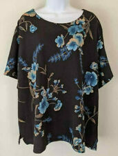 Renai Ellison Floral Blouse Black Blue Top Made in USA Stretchy Career Top Sz 2X