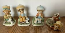 Homco 4 Piece Set of CHILDREN WITH DOGS Figurines Porcelain #1430 Collectable